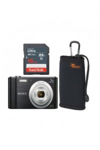 Sony CyberShot W800 20.1MP Camera with 16GB Memory Card, & Case
