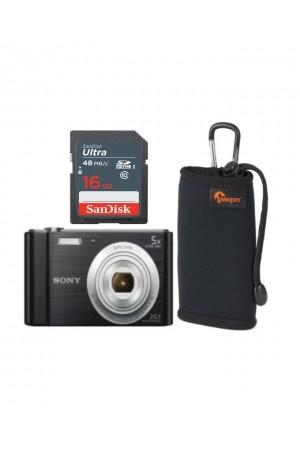 Sony CyberShot W800 20.1MP Camera with 16GB Memory Card, & Case